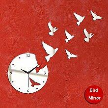 JinRou Modern-europ?isch Kreative Technologie Wanduhr von hochwertigen Spiegel Wandaufkleber Uhr Taube Spiegel Wand Uhr Zimmer Dekoration Ideen Wanduhr , Silver