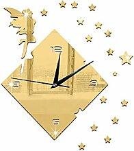 JinRou Modern-europ?isch Kreative Wohnzimmer TV Hintergrund Wanduhr Angel star Wand Aufkleber M?dchen Sterne Glocke gr¨¹n Stereo Mute Zimmer Dekoration Ideen Wanduhr , gold