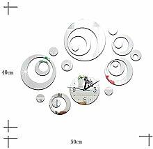 JinRou Modern-europ?isch Kreis Uhr Spiegel Uhren Mode stummen Wand im Wohnzimmer Spiegel herausnehmbare Mauer Uhr DIY Wand Aufkleber Zimmer Dekoration Ideen Wanduhr Uhr , Silver
