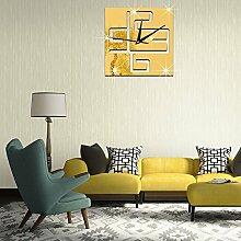JinRou Modern-europ?isch Luxus Wohnzimmer Wand Uhren dekorative Wand Uhr Digitaluhr kreative Spiegel Wandsticker Wandsticker Wand Uhr gr¨¹n , gold