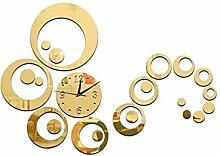 JinRou Modern-europ?isch Mode Dekorative Uhr Wanduhr kreist die Wohnzimmer Spiegel Zimmer Dekoration Ideen Uhr Wand Aufkleber Uhr Wanduhr , gold: 25*25*6cm