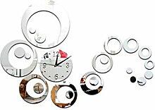 JinRou Modern-europ?isch Mode Dekorative Uhr Wanduhr kreist die Wohnzimmer Spiegel Zimmer Dekoration Ideen Uhr Wand Aufkleber Uhr Wanduhr , silver: 25*25*6cm