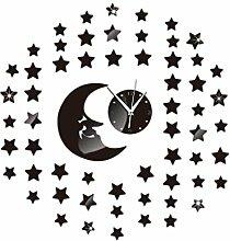 JinRou Modern-europ?isch Mond Sterne Spiegel Uhr kreative DIY Wand Aufkleber Wand Uhren dekorative Wanduhren Wanduhr Aufkleber Zimmer Kinder Zimmer Dekoration Ideen Wand , black