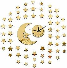 JinRou Modern-europ?isch Mond Sterne Spiegel Uhr kreative DIY Wand Aufkleber Wand Uhren dekorative Wanduhren Wanduhr Aufkleber Zimmer Kinder Zimmer Dekoration Ideen Wand , gold