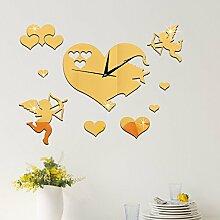 JinRou Modern-europ?isch Neue Zimmer Dekorationen Hochzeit Crystal Quarz clock Cupid Spiegel Zimmer Dekoration Ideen Wand Aufkleber Uhr Wanduhr , Golden