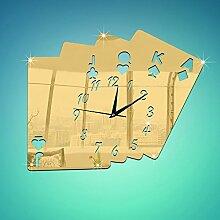 JinRou Modern-europ?isch Schlafzimmer Wohnzimmer Dekoration kreative 3D Poker digitale Spiegel Wand Uhr Aufkleber Uhr gr¨¹ne Stereo Wandsticker Zimmer Dekoration Ideen Wanduhr , Golden