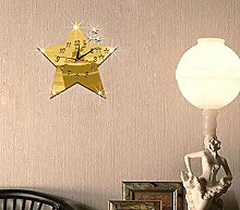 JinRou Modern-europ?isch Schlafzimmer Wohnzimmer Stille Wanduhren Wanduhr Uhr Kunst Mode Stern Spiegel Aufkleber Uhr Zimmer Dekoration Ideen Wand , gold: 30*30cm