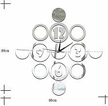 JinRou Modern-europ?isch Schlafzimmer Wohnzimmer Stille Wand Uhr digital Kreis Spiegel Wand Aufkleber DIY Wand Uhr Wand Uhr Gr¨¹nes Zimmer Deko-Ideen-Wanduhr , silver