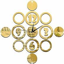 JinRou Modern-europ?isch Schlafzimmer Wohnzimmer Stille Wand Uhr digital Kreis Spiegel Wand Aufkleber DIY Wand Uhr Wand Uhr Gr¨¹nes Zimmer Deko-Ideen-Wanduhr , gold