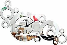 JinRou Modern-europ?isch Sofa-Wanduhr DIY circle Uhr Uhr Spiegel Spiegel Uhr Umweltschutz Umweltschutz Stereo Mute Zimmer Dekoration Ideen Wanduhr , silver