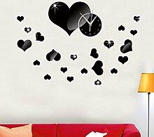 JinRou Modern-europ?isch Spiegel Uhr Spiegel Uhr DIY kreative Mode Uhren Liebe Cartoon Spiegel dekorative Glocke gr¨¹n Stereo Mute Uhr Raum Dekorationen , red
