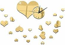 JinRou Modern-europ?isch Spiegel Uhr Spiegel Uhr DIY kreative Mode Uhren Liebe Cartoon Spiegel dekorative Glocke gr¨¹n Stereo Mute Uhr Raum Dekorationen , gold: