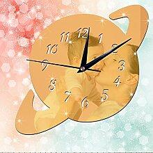 JinRou Modern-europ?isch Spiegel Uhren kreative DIY Acryl Spiegel Aufkleber Wohnkultur Wand Aufkleber Uhr Wand Uhr gr¨¹ne Stereo Mute Zimmer Dekoration Ideen Wanduhr , gold