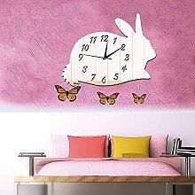 JinRou Modern-europ?isch Spiegel Wand Sticker Wanduhr DIY kreative gr¨¹ne Wand Aufkleber Wand Uhr Kinder kreative Cartoon Kaninchen Uhr Wand Uhr gr¨¹ne Wand Wandsticker , Silver