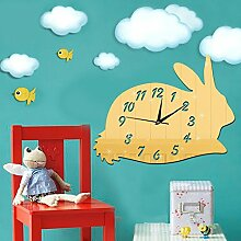 JinRou Modern-europ?isch Spiegel Wand Sticker Wanduhr DIY kreative gr¨¹ne Wand Aufkleber Wand Uhr Kinder kreative Cartoon Kaninchen Uhr Wand Uhr gr¨¹ne Wand Wandsticker , Golden