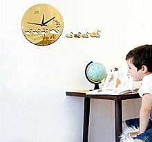 JinRou Modern-europ?isch Spiegel Wand Uhr Wand Aufkleber Swan Kinder kreativ dekorative Wand Uhr DIY Wand Aufkleber Wanduhr , gold