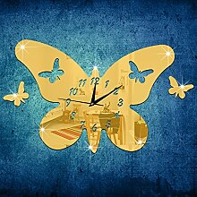 JinRou Modern-europ?isch Stereo-Schmetterling-Spiegel Uhren Uhren und kreative Clock 3D Umweltschutz entfernbare Wandsticker Zimmer Dekoration Ideen Wanduhren , Golden