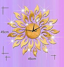 JinRou Modern-europ?isch Sun Uhr kreative Acryl Uhr Spiegel Wand Aufkleber DIY Uhr Uhr Wand Uhr Wandsticker Raum Dekorationen , Golden