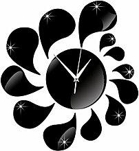JinRou Modern-europ?isch Uhren 3D Tropfen Spiegel Mode Uhr Acryl-Wand Sticker Acryl-Wand Uhren Wand Uhr Zimmer Dekoration Ideen Wanduhr , black