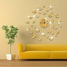 JinRou Modern-europ?isch Wand Sticker Aufkleber Zimmer Wanddekorationen Chung gr¨¹n Kristall Spiegel Uhr Uhr fliegende Schmetterlinge schw?rmen Stereo Uhr , gold