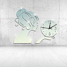 JinRou Modern-europ?isch Wanduhren Wanduhr Uhr kreative Mode Wohnzimmer Uhren Wand Aufkleber Zimmer Dekoration Ideen Wand , silver