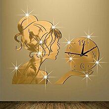 JinRou Modern-europ?isch Wanduhren Wanduhr Uhr kreative Spiegel Uhren Wand Aufkleber Wand Aufkleber stilvolle Wohnzimmer gr¨¹n Stereo Mute Zimmer Dekoration Ideen Wand , gold