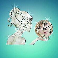 JinRou Modern-europ?isch Wanduhren Wanduhr Uhr kreative Spiegel Uhren Wand Aufkleber Wand Aufkleber stilvolle Wohnzimmer gr¨¹n Stereo Mute Zimmer Dekoration Ideen Wand , silver