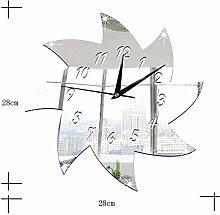 JinRou Modern-europ?isch Windm¨¹hle Spiegel Wand Aufkleber Wand Uhr Kinderzimmer Dekoration Ideen kreative stummen Wand Uhr DIY Wand Aufkleber Wanduhr , silver