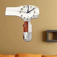 JinRou Modern-europ?isch Wohnzimmer M?bel dekorative Wand Uhr DIY kreative Haartrockner setzen Zhong Bizhong Spiegel gr¨¹n Stereo Mute Zimmer Dekoration Ideen-Wanduhr , silver