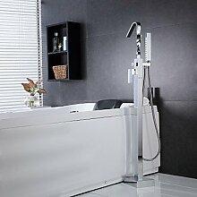 JinRou moderne und stilvolle Brausebatterie Messing massiv, die auf dem Boden stehende Wanne Dusche Armatur mit Handbrause - verchromte Oberfläche