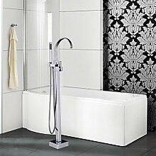 JinRou moderne und stilvolle Mischbatterie Dusche Badewanne Armatur - Zeitgenössische - Standlautsprecher - Messing (verchromt)