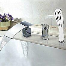 JinRou moderne und stilvolle Mischbatterie Dusche Badewanne Armatur - Zeitgenössische - Wasserfall / Sidespray - Messing (verchromt)