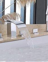 JinRou moderne und stilvolle Mischbatterie Dusche Dusche / Badewanne Armatur Wasserhahn - Zeitgenössische - Handdusche inklusive / Wasserfall - Messing (verchromt)