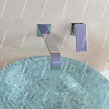 JinRou modernes Badezimmer Waschtisch Armatur Wandmontage Breite zeitgenössische Wasserfall Waschbecken Wasserhahn