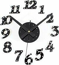 Jinrou Persönlichkeit die kreative Kombination von Stilvolle Wanduhr Diy Clock Clock die Stummschaltung einfache Dekorationen Geschenke , Schwarz. Silbernen Nieten.