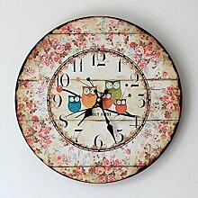 JinRou Runde zeitgenössische Retro Silent wall clock Indoor Home Wand Dekoration Uhr 35*35cm