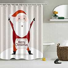 JinShiZhuan Duschvorhang Haus Dekor,Frohe Weihnachten,Niedlichen Weihnachtsmann,150W x180H CM,Wasserdicht,Polyester Stoff,Badezimmer Duschvorhang