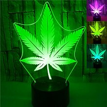 Jinson well 3D Blatt Nachtlicht Lampe optische