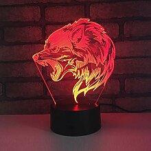Jinson well 3D Wolf Lampe led Illusion Nachtlicht,