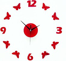 Jinxu 16 Zoll Diy Digital Wanduhr einfügen Wandschmuck, 16 Zoll, Rot Schmetterling