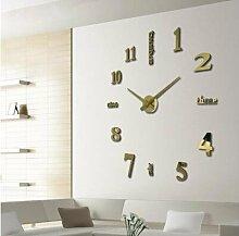 Jinxu 20 Zoll Diy Digital Art Wanduhr einfügen Wand Dekoration, 20 Zoll, Luxus Gold Farbe