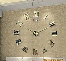 Jinxu 20 Zoll großen 3D-Diy Stereo Clock Digital Clock Mute Aufkleber Wohnzimmer Wanduhr, 20 Zoll, Luxus Gold Farbe