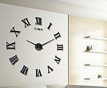 Jinxu 20 Zoll großen 3D-Diy Stereo Clock Digital Clock Mute Aufkleber Wohnzimmer Wanduhr, 20 Zoll, Classic Schwarz