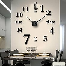 Jinxu Großes Wohnzimmer Wanduhr 3D Stereo Clock Diy Digitale Uhr hängenden Kunst Aufkleber, Diamant Blau 90-120 cm im Durchmesser