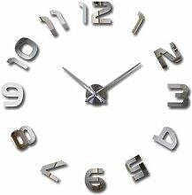 Jinxu Super DIY-Clock Watch 3D Art Kreativ Wohnzimmer dekorative Wand Aufkleber Tabelle Persönlichkeit Digital Quarz Wanduhr, Silber Trompete