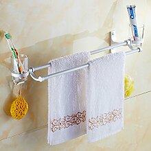 JinYiDian'Shop-Badezimmer Accessoires, Badezimmer oder Küche Handtuchhalter Halter Wandhalterung Storage Rack, Organisieren Sie alle Regal mit Handtuchhalter, Handtuchhalter, verchromt 37 Cm