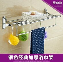 JinYiDian'Shop-Badezimmer Accessoires, Badezimmer oder Küche Handtuchhalter Halter Wandhalterung Storage Rack, Organisieren Sie alle Regal mit Handtuchhalter, Handtuchhalter Edelstahl Handtuchhalter 60 Cm