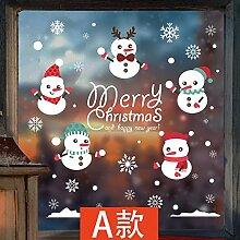 JinYiDian 'Shop-Christmas Shopping Malls Restaurant Shop Fenster Glasdekorationen Poster Lager neues Jahr Schneeflocke Schneemann Wand Papier, A, 82 * 80 cm Tür Aufkleber