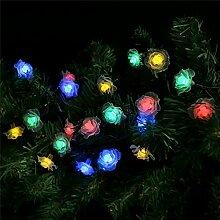 Jinyidian'Shop-Die Rose Solar Lampe String, String, die Dekoration für Weihnachten Karneval warmes Weiß