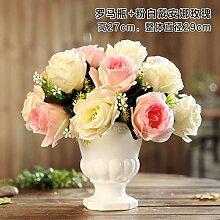 Jinyidian 'Shop-Keramik Vasen Emulation Flower Kit Continental Home Desktop Zubehör Tisch Wohnzimmer, Ornamente